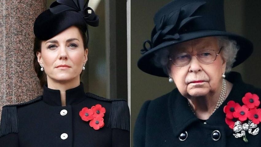 كيت ميدلتون والملكة إليزابيث بإطلالتين متشابهتين أثناء إحياء ذكرى جنود الحرب العالمية.