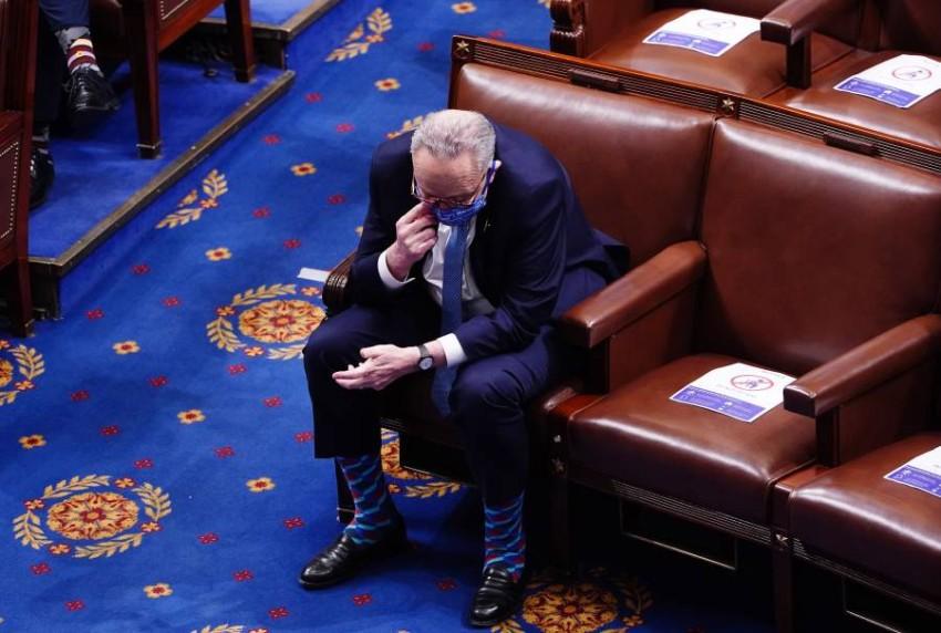 تشاك شومر في الكونغرس بعد أحداث الأربعاء. (إي بي أيه)