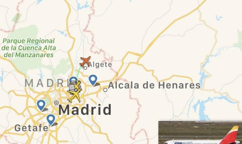 مسار طائرة ريال مدريد المسافرة إلى بامبلونا. (أوند سيرو)