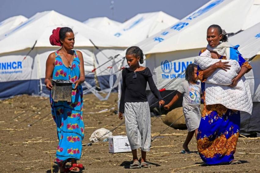 لاجئون إثيوبيون من الفارين من تيغراي. (أ ف ب)