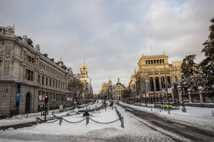 الثلوج في مدريد. (أ ب)