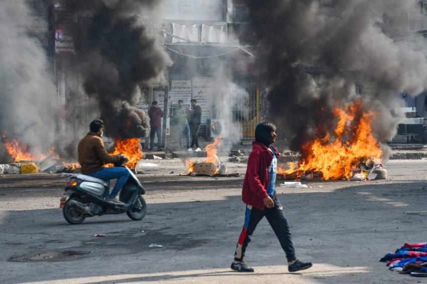 احتجاجات في منطقة الناصرية بالعراق - أب.