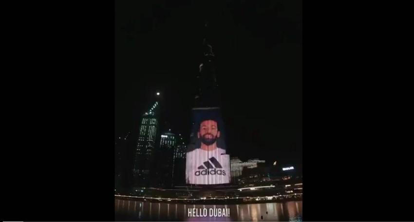 لقطة من إعلان صلاح على برج خليفة. (الرؤية)