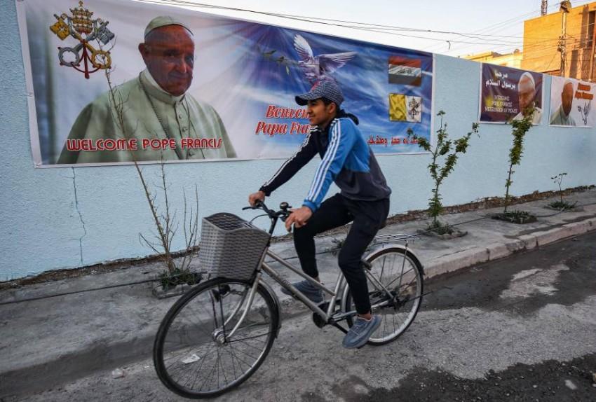 استعدادات في العراق لزيارة بابا الفاتيكان. (أ ف ب)