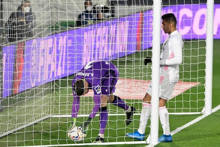 من مباراة ريال مدريد وريال سوسييداد. (أ ف ب)