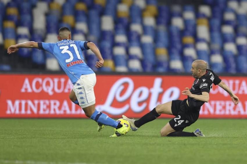 فوزي غلام خلال مباراة نابولي مع بولونيا. (أ ب)