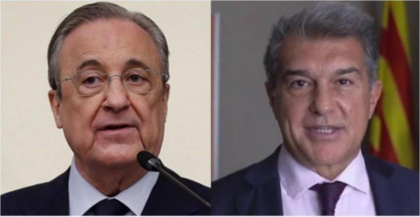 خوان لابورتا رئيس برشلونة وفلورنتينو بيريز رئيس ريال مدريد. (ديفنسا سنترال)