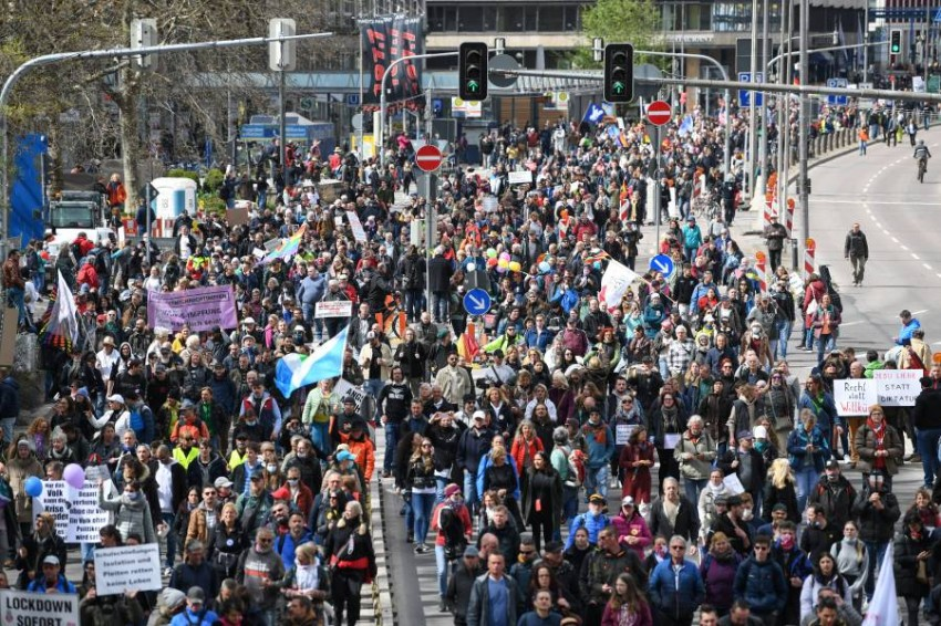 مظاهرات في ألمانيا رفضا لقيود كورونا. (رويترز)