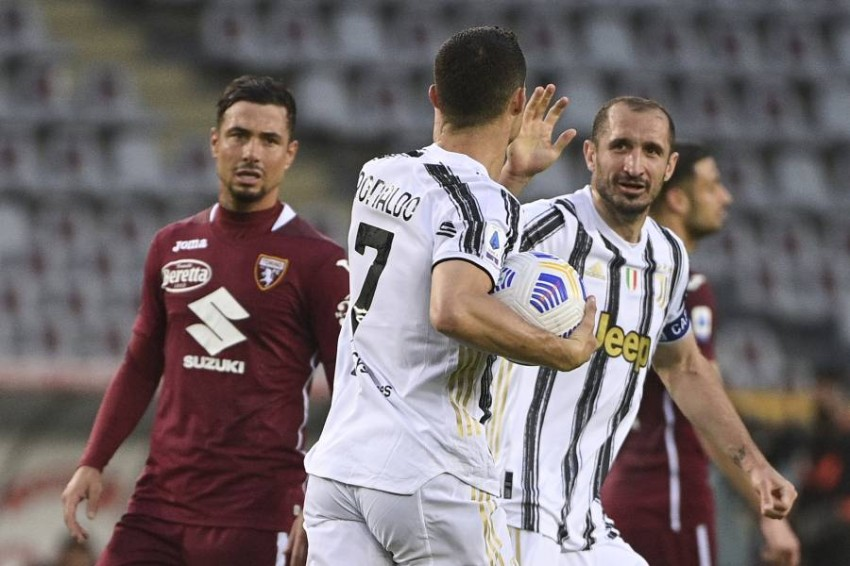 رونالدو سجل هدف التعادل ليوفنتوس. (أ ب)
