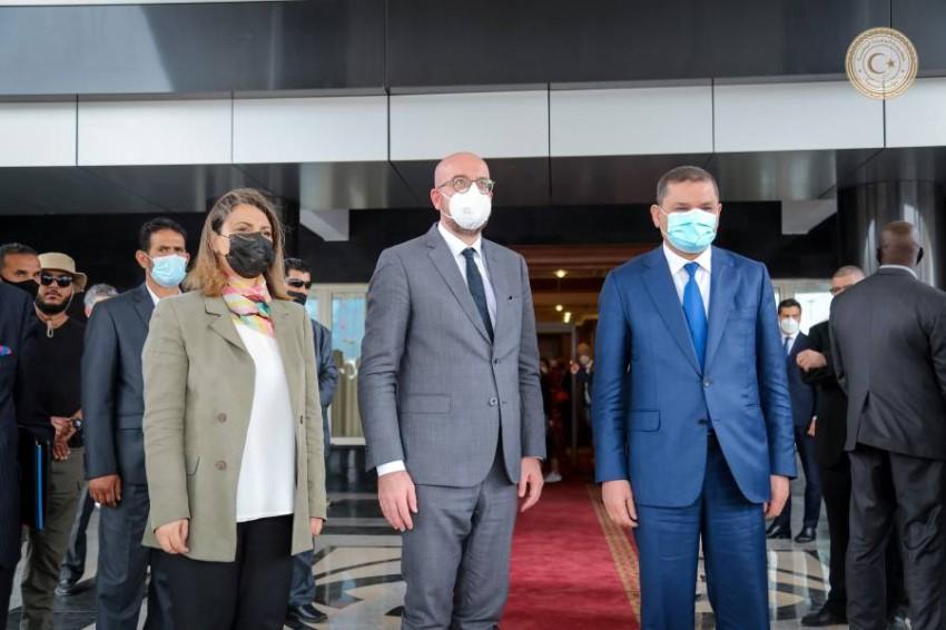 رئيس المجلس الأوروبي شارل ميشال - أثناء مقابلته رئيس الوزراء عبدالحميد الدبيبة - رويترز.