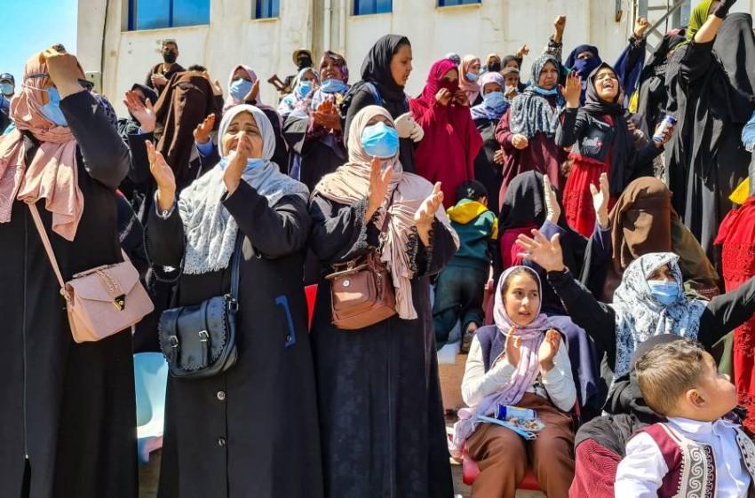 النساء في ليبيا يشاركن بفعالية من اجل المستقبل.(أ ف ب)
