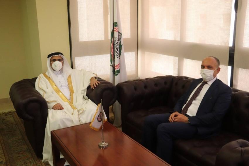 رئيس البرلمان العربي يستقبل سفير الأردن.