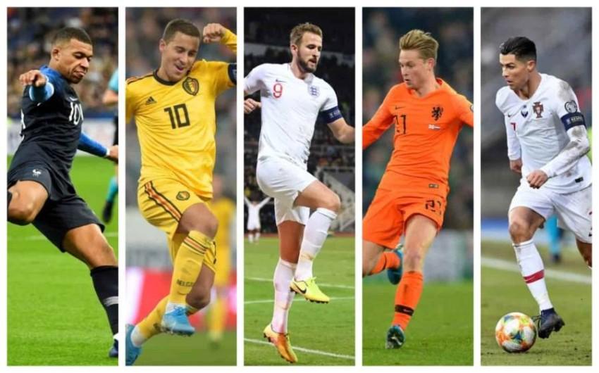 صورة مركبة لأبرز نجوم المنتخبات المشاركة في يورو 2020 المؤجل. (غيتي)