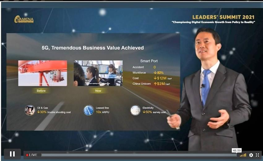 تشارلز يانغ، رئيس شركة هواوي في الشرق الأوسط خلال الكلمة الافتتاحية. (من المصدر)