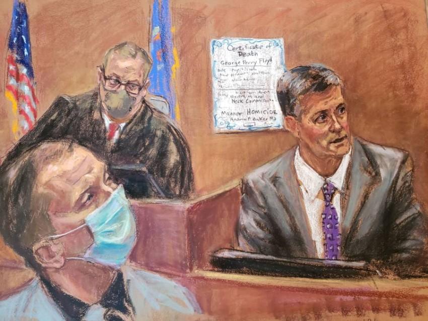 رسم تخيلي لدكتور أندرو بيكر وهو يدلي بشهادته أمام المحكمة. (رويترز)