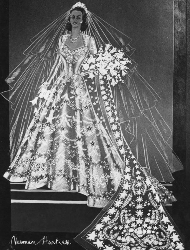 سكتش فستان الملكة إليزابيث