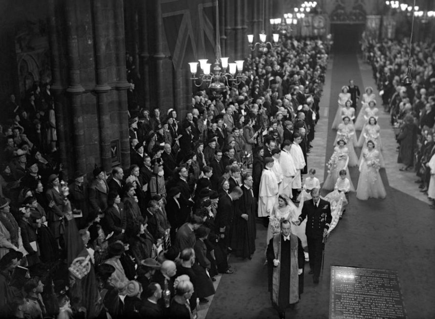 The Bridal Procession passes through Westminster Abbey.