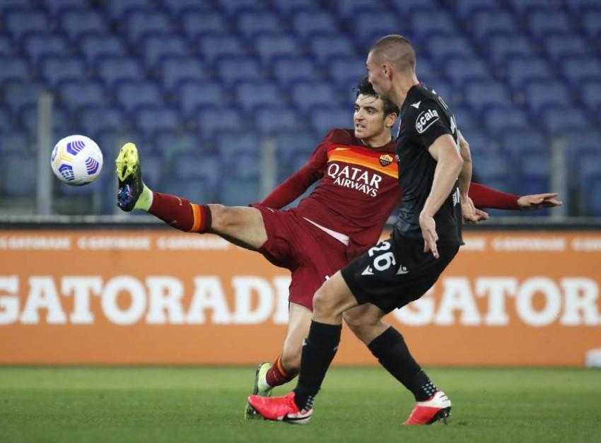 من مباراة روما وبولونيا. (أ ب)