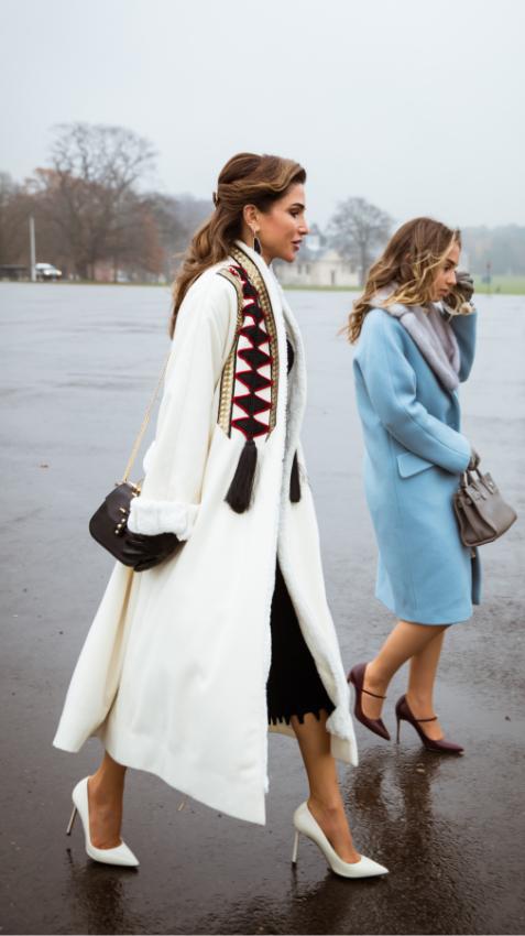 الملكة رانيا بمعطف أبيض من علامة اباديا