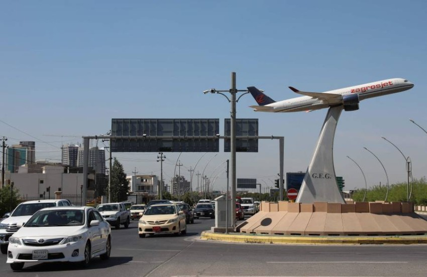 أحد الميادين القريبة من مطار أربيل الدولي. (أ ف ب)