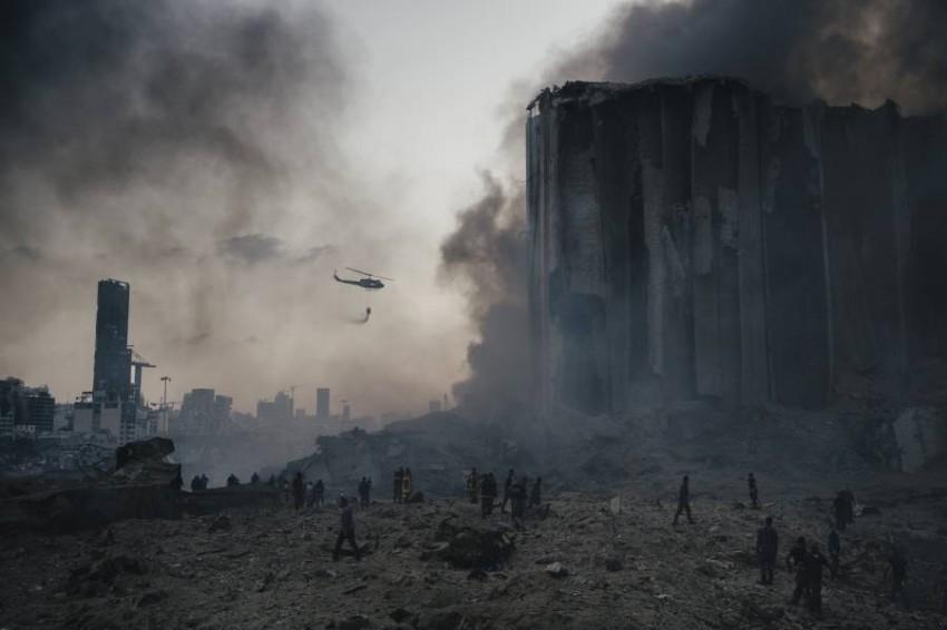 مرفأ بيروت بعد الانفجار. (أ ب)