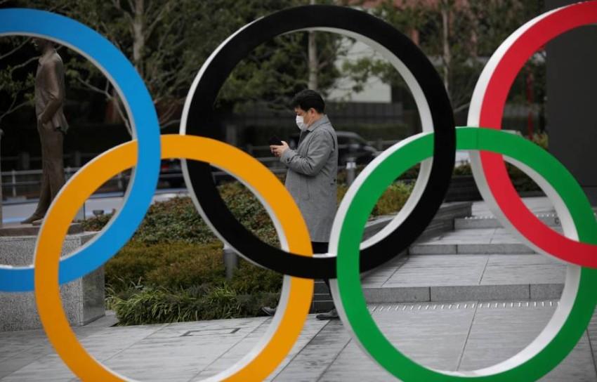 شعار الأولمبياد في طوكيو. (رويترز)