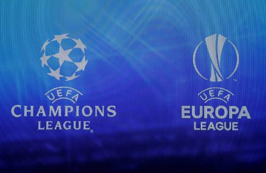 شعارا دوري أبطال أوروبا والدوري الأوروبي. (رويترز)