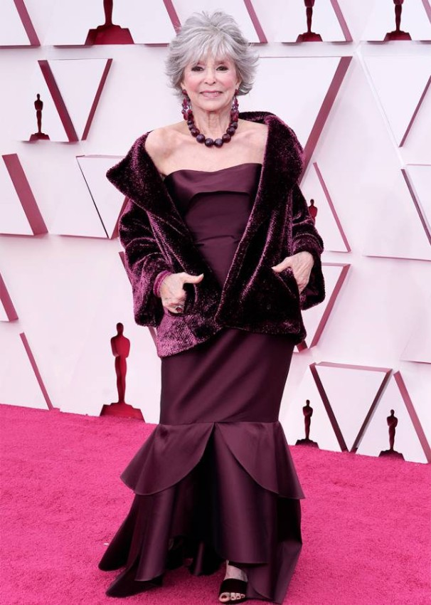 Rita Moreno arrives at the Oscars on Sunday, April 25, 2021, at Union Station in Los Angeles. (AP Photo/Chris Pizzello, Pool)