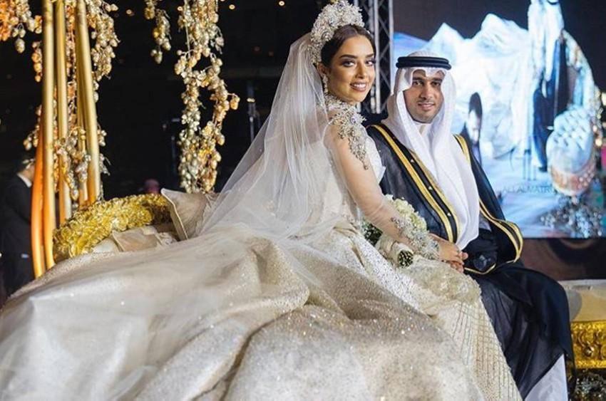 بلقيس فتحي وزوجها سلطان في حفل زفافهما