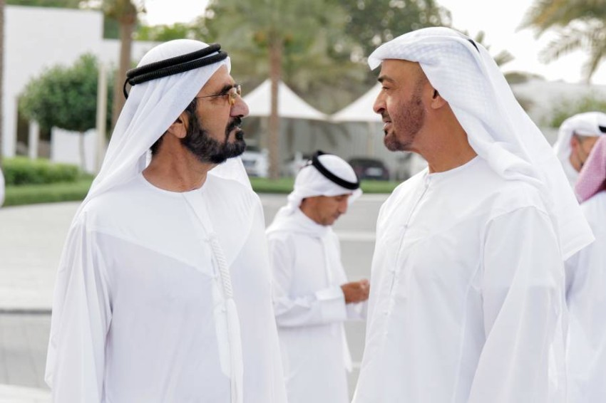 ABU DHABI, UNITED ARAB EMIRATES - May 02, 2021: HH Sheikh Mohamed bin Zayed Al Nahyan, Crown Prince of Abu Dhabi and Deputy Supreme Commander of the UAE Armed Forces (L) receives HH Sheikh Mohamed bin Rashid Al Maktoum, Vice-President, Prime Minister of the UAE, Ruler of Dubai and Minister of Defence (L), at Al Shati Palace. ( Handout ) ---