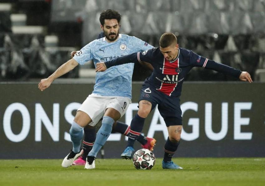فيراتي لاعب باريس سان جيرمان خلال مباراة الذهاب أمام مانشستر سيتي. (رويترز)