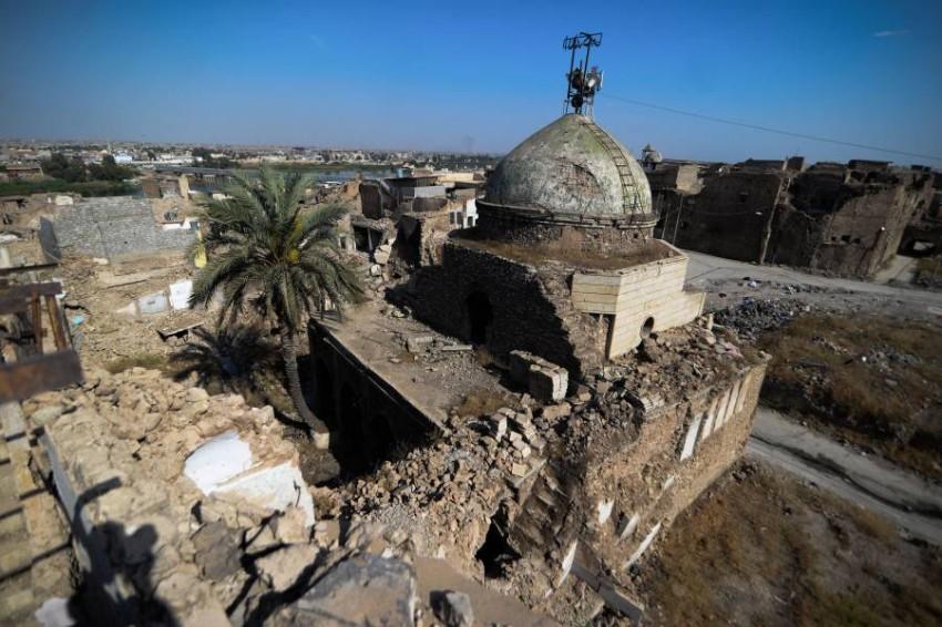 مسجد في الموصل تهدم خلال الحرب ضد داعش.(أ ف ب)
