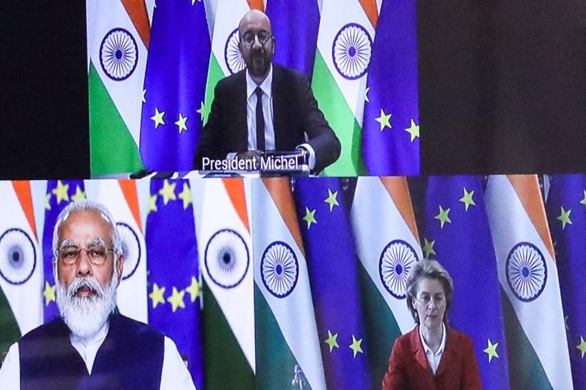 لقاء افتراضي جرى العام الماضي بين رئيس وزراء الهند ومسؤولين أوروبين. (أ ف ب)