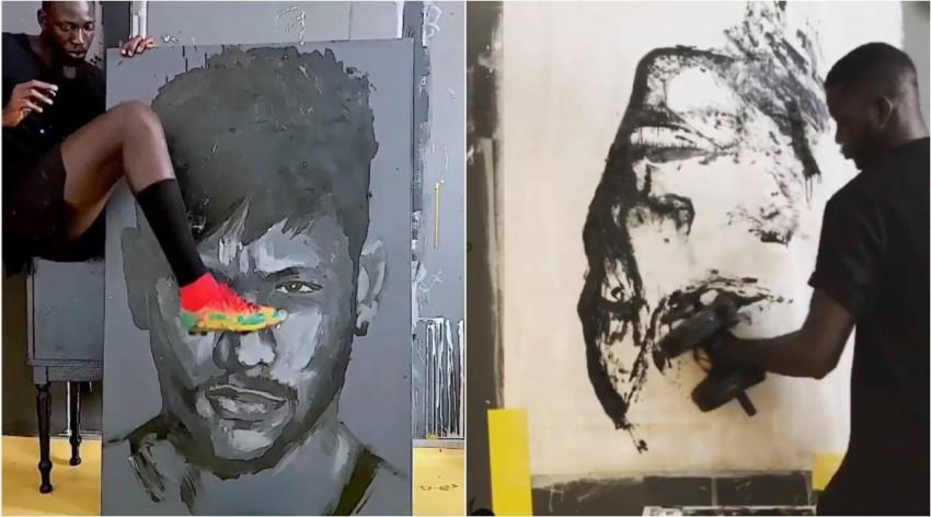 نيمار بقدم بوبو ولوحة أخرى بالمقلوب.