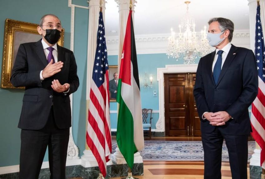 وزير الخارجية الأمريكي أنتوني بلينكن ووزير الخارجية الأردني أيمن الصفدي - رويترز.
