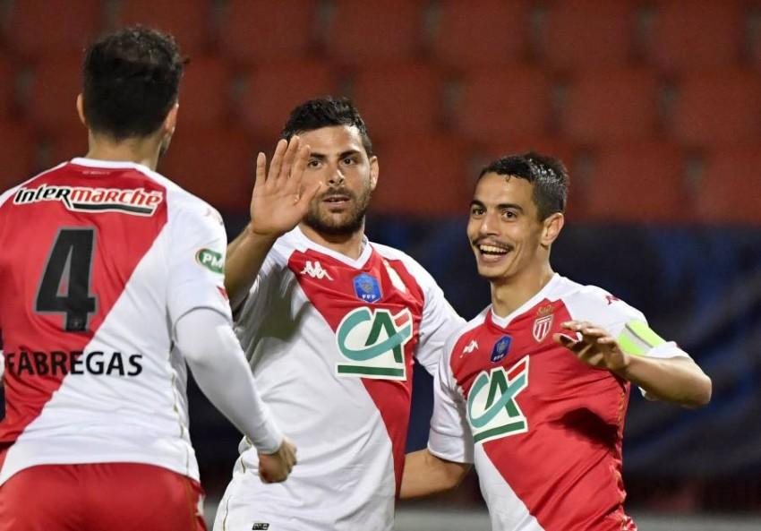 فرحة موناكو بالفوز. (أ ف ب)