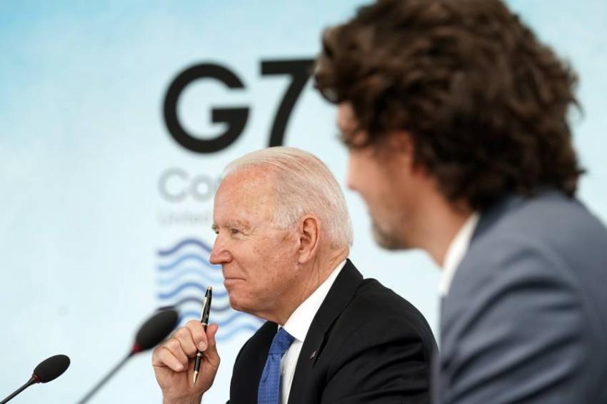 بايدن ورئيس الوزراء الكندي جاستن ترودو في كورنول. (أ ب)