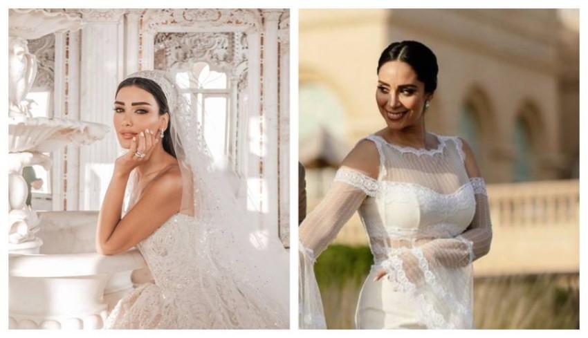 مابين البساطة والفخامة.. فستان زفاف جسيكا عزار أم بسنت شوقي؟