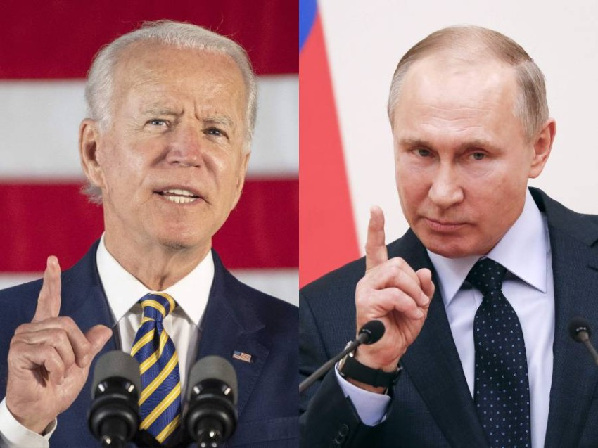 (COMBO) This combination of files pictures created on June 7, 2021 shows then Democratic presidential candidate Joe Biden speaking about reopening the country during a speech in Darby, Pennsylvania, on June 17, 2020 and Russian President Vladimir Putin delivering a speech during a meeting with Russian athletes and team members, who will take part in the upcoming 2018 Pyeongchang Winter Olympic Games, at the Novo-Ogaryovo state residence outside Moscow on January 31, 2018. - Russian President Vladimir Putin said on June 4, 2021 he is hoping to improve deeply damaged ties with the United States when he holds his first summit with US counterpart Joe Biden later this month. The face-to-face meeting in Geneva on June 16 comes amid the biggest crisis in ties between the two countries in years, with tensions high over a litany of issues including hacking allegations, human rights and election meddling. (Photo by Jim WATSON and Grigory DUKOR / various sources / AFP)