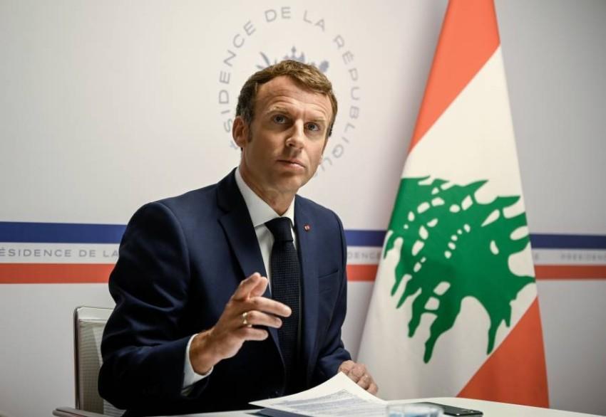 الرئيس الفرنسي يلقي كلمته الافتتاحية للمؤتمر الافتراضي. (رويترز)