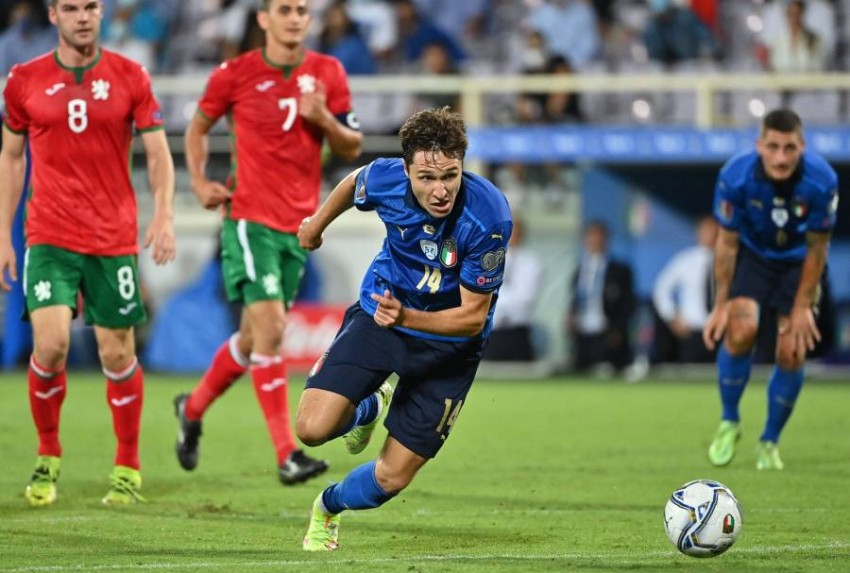 كييزا لاعب إيطاليا ضد بلغاريا. (أ ف ب)
