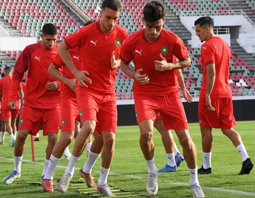 منتخب المغرب في حصة تدريبية. (موقع الاتحاد المغربي في تويتر)