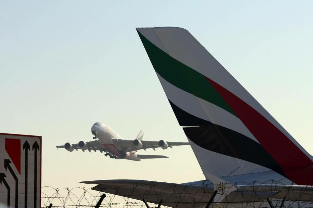 Emirates plane at Dubai, UAE on 19 December 2017.